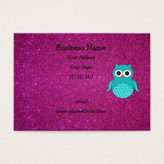 Brillo lindo del rosa del búho de la turquesa tarjeta de negocios