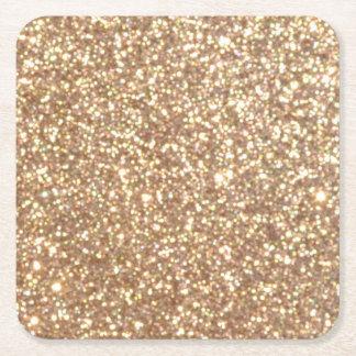 Brillo metálico del oro color de rosa de cobre posavasos de papel cuadrado