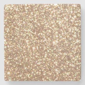 Brillo metálico del oro color de rosa de cobre posavasos de piedra