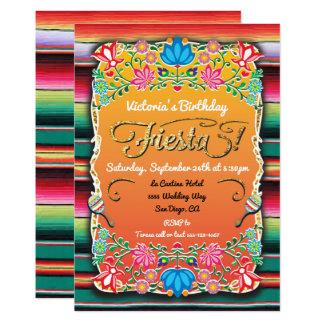 Brillo mexicano del oro del fiesta de la fiesta invitación 12,7 x 17,8 cm