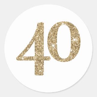 Brillo moderno del oro 40 del GRAN NÚMERO de la Pegatina Redonda