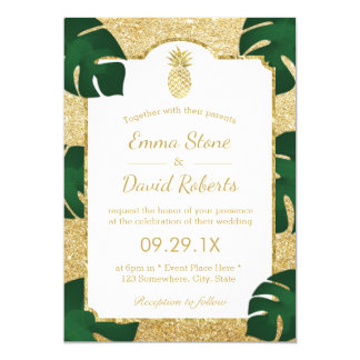Brillo moderno del oro del boda tropical de la invitación 12,7 x 17,8 cm