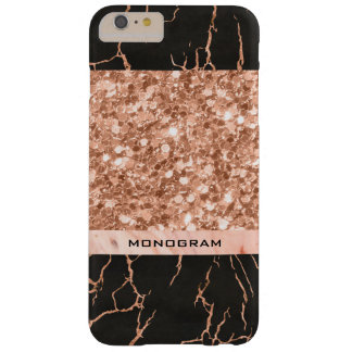 Brillo moderno del Rosa-Oro y modelo de mármol Funda Barely There iPhone 6 Plus