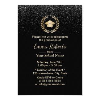 Brillo negro moderno de la fiesta de graduación invitación 12,7 x 17,8 cm