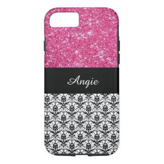 Brillo personalizado y damasco Bling del rosa de Funda iPhone 7