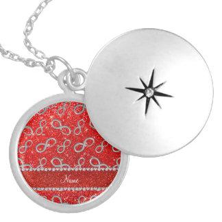 Brillo rojo de neón del infinito de plata conocido medallones