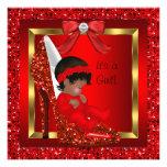 Brillo rojo del chica afroamericano de la fiesta d comunicados personalizados