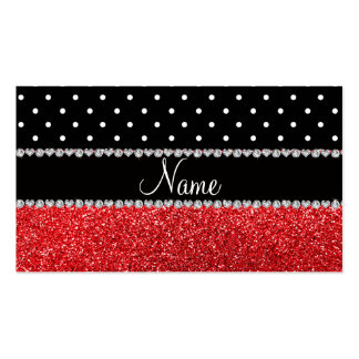 Brillo rojo personalizado de los lunares negros co plantillas de tarjeta de negocio