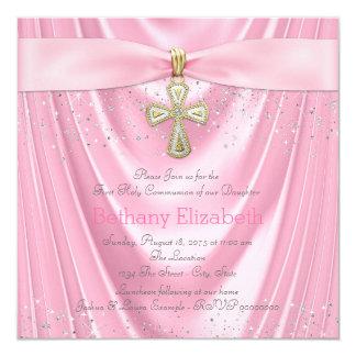Brillo rosado del satén comunión rosada de la cruz invitación 13,3 cm x 13,3cm