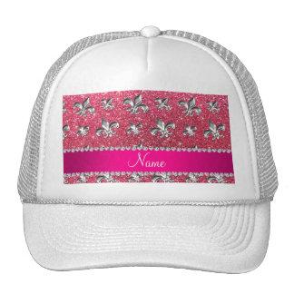 Brillo rosado fucsia de la flor de lis conocida de gorros bordados
