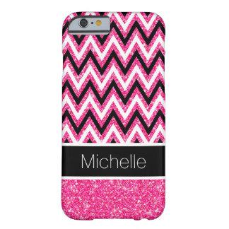 Brillo rosado y caja negra del iPhone 6 de Chevron Funda Barely There iPhone 6