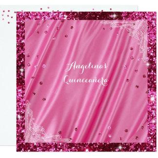 Brillo rosado y satén Quinceanera, invitación