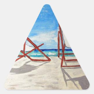 Brisa de la playa pegatina triangular