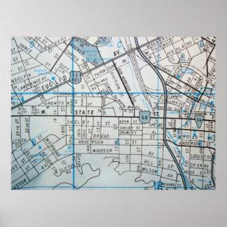 Bristol, poster del mapa del vintage del VA Póster