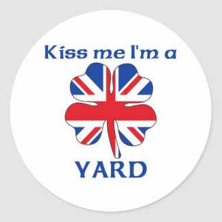 Británicos personalizados me besan que soy yarda pegatinas
