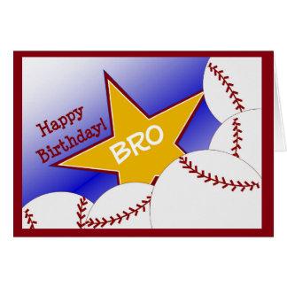 Bro - béisbol del feliz cumpleaños que ama Brother Tarjeta De Felicitación