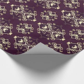 Brocado tradicional del oro de la púrpura real papel de regalo