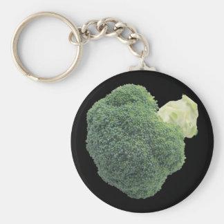 """Bróculi 2,25"""" llavero básico del botón"""
