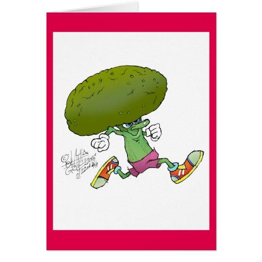 Bróculi corriente del dibujo animado lindo, en una tarjeta de felicitación