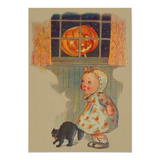 Broma asustada del gato negro de la linterna de invitación 12,7 x 17,8 cm