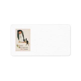Broma del gato negro de la calabaza de la linterna etiqueta de dirección