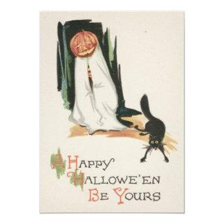 Broma del gato negro de la calabaza de la linterna invitación 12,7 x 17,8 cm