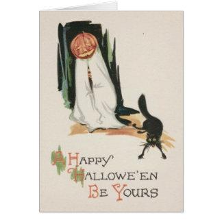 Broma del gato negro de la calabaza de la linterna tarjeta de felicitación