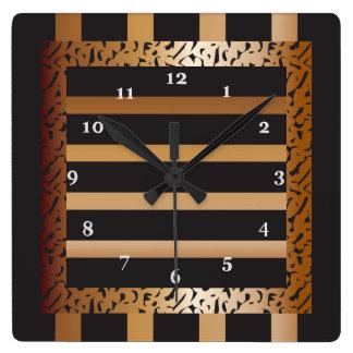 Bronce y estampado leopardo rayado del negro reloj cuadrado
