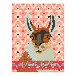 Bronze Llama Pink  Damask  Postcard