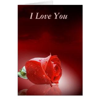Brote color de rosa en rojo tarjeta de felicitación