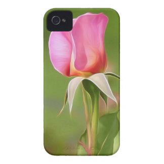 Brote color de rosa rosado solitario carcasa para iPhone 4