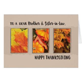 Brother y cuñada, acción de gracias tres hojas tarjeta de felicitación