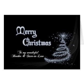 Brother y cuñada, navidad blanco y negro tarjeta de felicitación