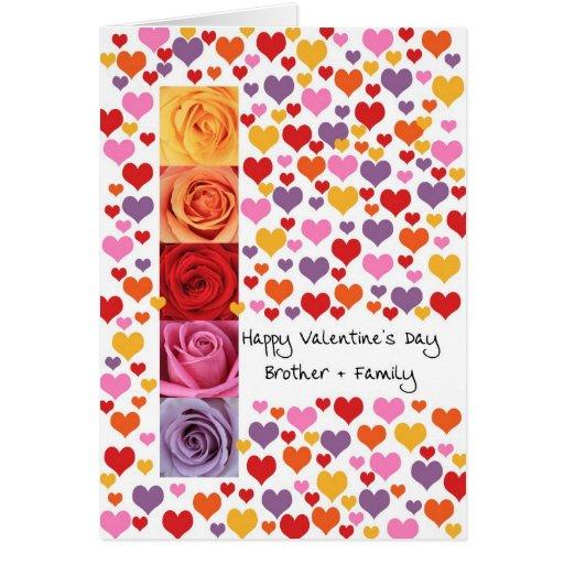 Brother y el día de San Valentín coloreado familia Tarjetas