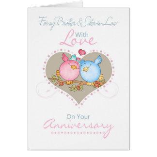 Brother y tarjeta del aniversario de la cuñada con