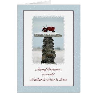 Brother y tractor del navidad de la cuñada tarjeta