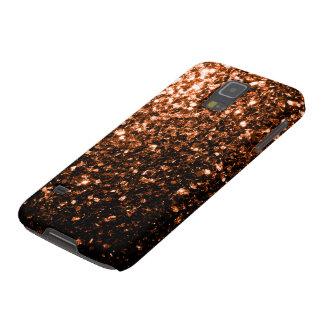 Brown anaranjado de bronce chispea la galaxia S5 Funda Galaxy S5