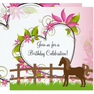 Brown bonito, flores del caballo, cumpleaños del invitación 13,3 cm x 13,3cm