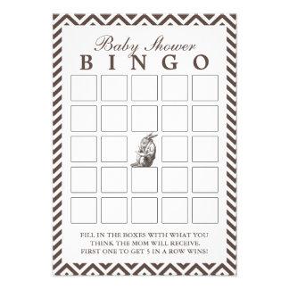 Brown Chevron raya tarjetas del bingo de la fiesta Invitación Personalizada