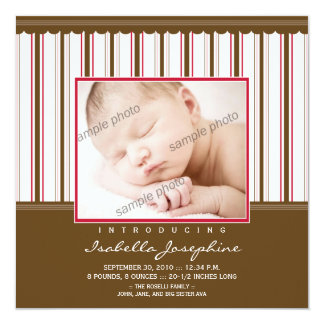 Brown de moda/invitación rosada del nacimiento de invitación 13,3 cm x 13,3cm