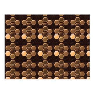 Brown de oro Sexagon: Decoraciones elegantes Tarjeta Postal