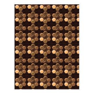 Brown de oro Sexagon: Decoraciones elegantes Postales
