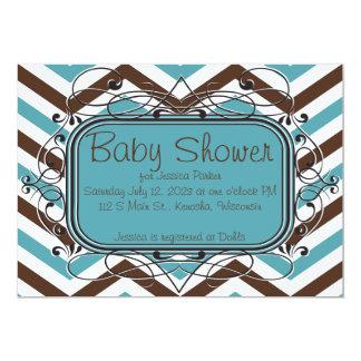 Brown e invitaciones azules de la fiesta de invitación 12,7 x 17,8 cm