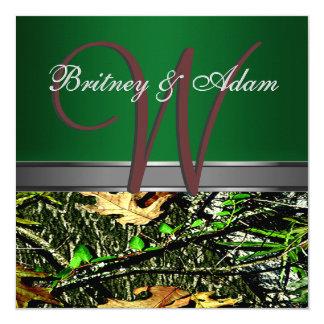 Brown e invitaciones verdes cubiertas de musgo del invitación 13,3 cm x 13,3cm