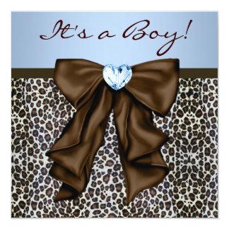 Brown elegante y fiesta de bienvenida al bebé azul invitación 13,3 cm x 13,3cm