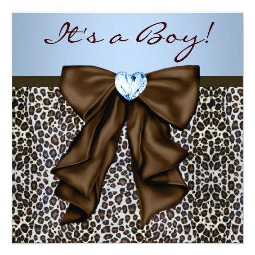 Brown elegante y fiesta de bienvenida al bebé azul invitaciones personalizada