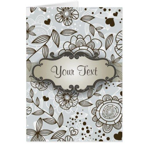 Brown en floral azul con el letrero tarjeta