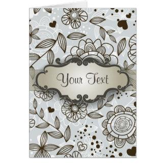 Brown en floral azul con el letrero tarjeta pequeña