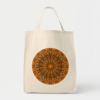 Brown, naranja, y mandala redonda del oro bolso de tela