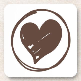 Brown y corazón blanco - amor, boda, ducha nupcial portavasos